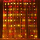 3M*3M Hanging 300LED Curtain Fairy String Light 8 Modes Outdoor Wedding Party Wall Decor Lamp DC5V