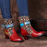 SOCOFY rétro motif de fleurs couture en cuir véritable boucle en métal fermeture à glissière talon haut bottes mi-mollet