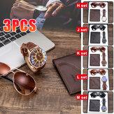 Conjunto de presente de moda masculina 3 peças de estilo empresarial relógio de quartzo + carteira + conjunto de óculos de sol