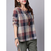 S-5XL Casual Femmes Plaid Prinred Button Chemises