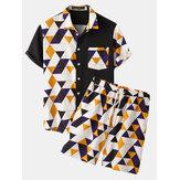 メンズ幾何学プリントパッチワーク半袖カジュアルホリデーツーピース衣装