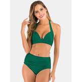 Plus Size Women Solid Color Halter String High Waist Bikini