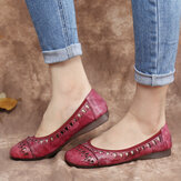 SOCOFY Tie-dyed Handmade Leather Cutout  Comfy Soft Sole Slip On Flat Shoes