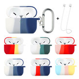 Enkay Rainbow Series 3 in 1 Split Color Soft TPU Shockproof Earphone Storage Case Protective Cover with Free Anti-Lost Strap Keychain for Airpods Pro