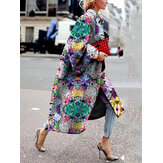 Women Allover Floral Printed Long Sleeve Casual Lapel Coat