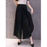 Women Loose Chiffon Elastic Waist Split Wide Leg Pants