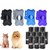 Protable 10pcs Plastic Cute Pet Dog Cat Waste Poop Bags Pet Waste Bag With Bone Shape Dispenser