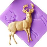 Molde de la pasta de azúcar del silicón de DIY Molde de los pasteles de la torta de la forma de los ciervos de la Navidad Cocina de la panadería Herramientas de la hornada