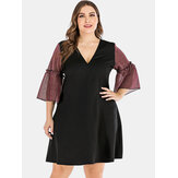 Plus Size Women Ruffle Sleeve Patchwork Casual Dress