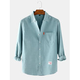 Mens Solid Color Cotton Loose Casual Long Sleeve Shirts With Pocket