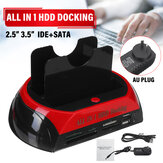 USB 2.0 HDD Docking Station 2 Port External Hard Drive Card SATA IDE Card Reader