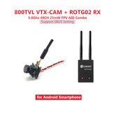 Eachine ROTG02 + 7081U 800TVL AIO Camera FPV Combo 5.8G 48CH 25mW Transmitter Camera Receiver Black Set for Android Phone Non-original