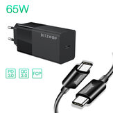 BlitzWolf® BW-S17 65W USB-C-oplader PD3.0 Stroomvoorziening Wandoplader met EU-stekkeradapter met Baseus 100W USB-C naar USB-C PD3.0-kabel voor smartphone Tablet Laptop voor iPhone 11 SE 2020 voor iPad Pro 2020 MacBook Air 2020 Huawei P40 Xiaomi