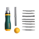 [New Version] SATA 19 in 1 Multifunctional Ratchet Screwdriver Set W/ 8 Bits Repair Tools Kit Form