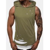 Herren New Fashion Sport Solid Hole Ärmellose Tanktops