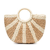 Women Straw Summer Beach Bag Handbag Capacity Travel Tote Purse