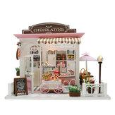 Boneca casa kit diy em miniatura artesanal de madeira casa loja de bolo crianças artesanato brinquedos