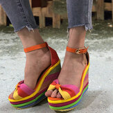 Women Rainbow Colorful Ankle Strap Bow Knot Buckle Platform Sandals