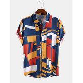 Moda masculina Colorful contraste impressão em cores soltas camisas casuais