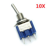 Wendao MTS-103 AC 125V 6A 3 Pins Toggle rocker Switch ON/OFF/ON SPDT 10pcs