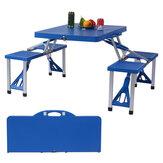 Assento de banco dobrável de alumínio para piquenique e mesa ao ar livre dobrável com 4 assentos