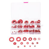 Suleve™ 225Pcs Red Steel Paper Washer Insulation Pad Flat Gasket Spacers 15 Sizes Assortment