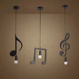 AC85-265V Music Symbol Pendant Lights E27 Creative Black Led Pendant Lamp for Bar bedroom bookroom Pendant Lighting Without Bulb