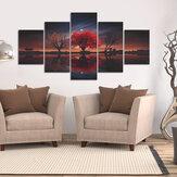 60x30 hüvelykes 5 darab Canva Wall Art meleg lakberendezés piros fa poszter Modern Canva poszter a nappali hálószoba lakberendezéséhez