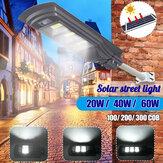 AUGIENB Zonne-energie 20W / 40W / 60W COB LED-straatverlichting PIR Bewegingsradarsensor Waterdichte tuinlamp + afstandsbediening