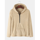 Mens Plush Fluffy Solid Color Half Zipper Hoodie With Pocket