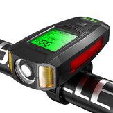 Черный BIKIGHT 3-в-1 350LM COB Велосипедный свет + USB-сигнал Лампа + измеритель скорости LCD Экран 5-режимный Водонепроницаемы Велосипедная фара с рого