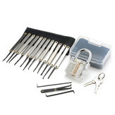 15Pcs Lock Picks Set Key Extractor Tool Unlocking Practice with Transparent Practice Padlock