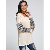 Fashion Women Casual Long Pattern Stitching Sleeve T-Shirt