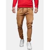 Tasca della tuta da uomo a vita media con coulisse in tinta unita Carico Pantaloni