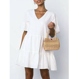 Women Cotton V-neck Ruffle Sleeve Holiday Loose Solid Color Mini Dress