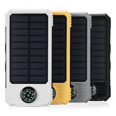 20000mAh Solar Powered System Charger DIY Case Waterproof with 2 USB & Dual LED Flashlight