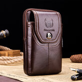 Bullcaptain Men Genuine Leather 5.5 inch Phone Bag Waist Bag Business Bag