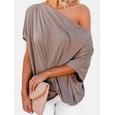 Damesmode off-shoulder geplooide effen kleur losse shirts