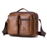 Men Vintage Leather Shoulder Bag Business Handbag Messenger Crossbody Document Storage Bag