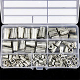 117Pcs M3-M12 Rivet Nut 304 Stainless Steel Threaded Flat Head Insert Nutsert Assortment