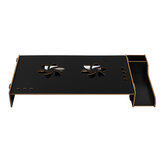 Wooden Laptop Stand Computer Screen Desktop Bracket Monitor TV Riser Assemble Holder with Storage Box