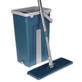 Platte knijpmop Handvrij wringen Roestvrijstalen dweil Zelf nat droogreinigend dweil met 2 microvezelpad Blauwe emmer set