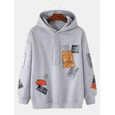 Mens Cotton Label Letter Print Drop Shoulder Long Sleeve Drawstring Hoodies