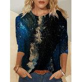 Blusas de manga comprida casual feminina tamanho plus size com impressão em torno do pescoço