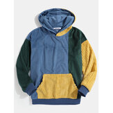 Heren Vintage Corduroy Color Block Stitching Kangaroo Pocket Hoodies