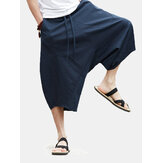 Mens Casual Spold Color 100% Cotton Drawstring Loose Fit Calf Length Pants