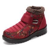 Floral Magic Stick Artificial Suede Faux Fur Lining Warm Ankle Snow Boots