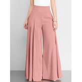Kadın Düz Renk Yüksek Bel Fermuarlı Geniş Bacak Pantolon Cepli