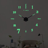 27/37/47 inch 3D DIY Wall Clock Silent Large Quartz Luminous Wall Night Clocks