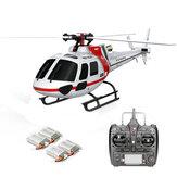 XK K123 6CH système sans brosse 3D6G AS350 échelle hélicoptère RC compatible avec FUTAB-A S-FHSS 4PCS 3.7V 500MAH Lipo Batterie